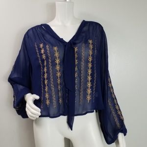 Band of Gypsies Sheer Embellished Top Size L 2440